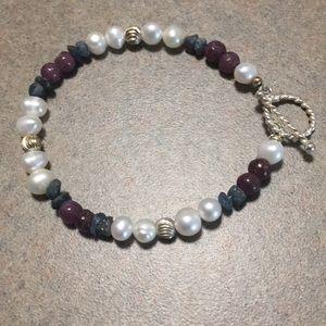 Pearl, Ruby & Blue Sapphire Bracelet -New